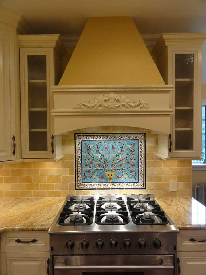 Mike 39 s peacock and pomegranate tree tile mural backsplash for Backsplash tile mural