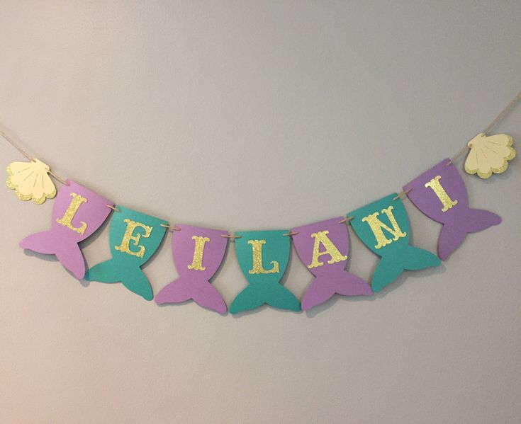 Mermaid Name Banner, baby shower, first birthday, mermaid party, under the sea, mermaid banner, PURPLE AND TEAL, gold letters by HappyVidaDesigns on Etsy https://www.etsy.com/listing/530049488/mermaid-name-banner-baby-shower-first