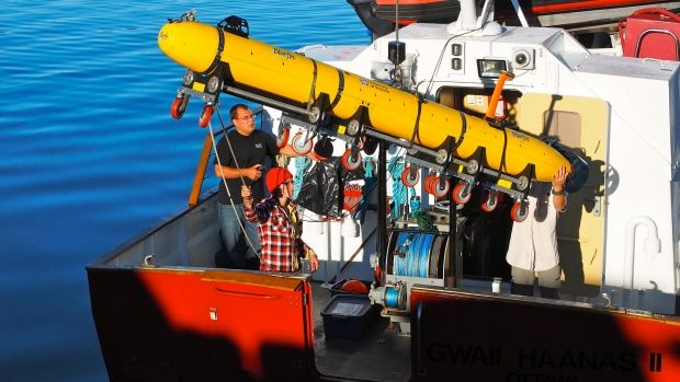 The University of Victoria's Bluefin-12S AUV is being off-loaded from the Parks Canada vessel Gwaii Haanas II at the end of the project. The team plans to return next summer for further investigation.
