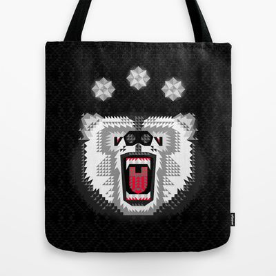 Polar+Bear+Geometric+Tote+Bag+by+chobopop+-+$22.00