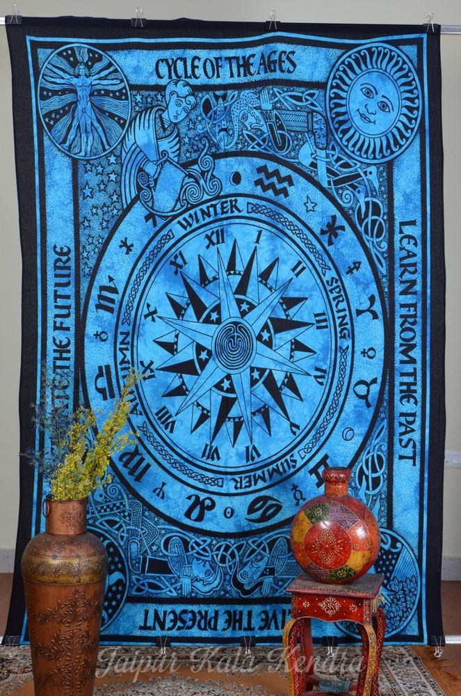 Indian Tapestry Astrology Cycle of Ages Wall Hanging Blue Bed Sheet Decor Art #JaipurKalaKendra