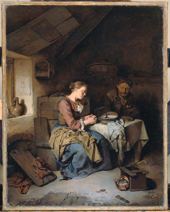 Бега Корнелис Питерс (Bega, Begga, 1620-1664) - Молитва перед едой (1663, Rijksmuseum, Amsterdam)