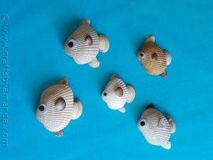 Vissen gemaakt uit schelpen