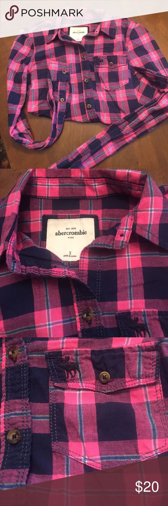 Abercrombie Girls plaid shirt Like new. Abercrombie pink and blue plaid button down. abercrombie kids Shirts & Tops Button Down Shirts