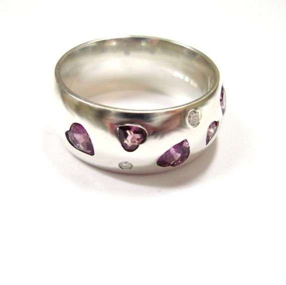 Silver garnet heart and diamond ring by JewellCollect on Etsy