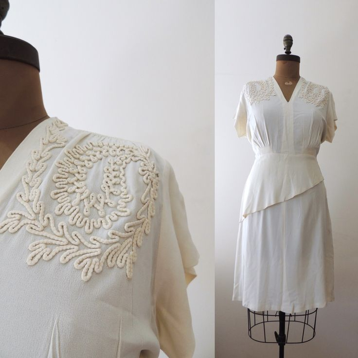 1940s going-away dress in cream rayon with gorgeous soutache details and asymmetric peplum.