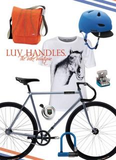 Summer Men's Bike Fashion with Creme Vinyl bicycle, Bern Brentwood helmet, Knog Bag & Tools, Kryptonite Lock, Electra Bell and Lowie T-Shirt.