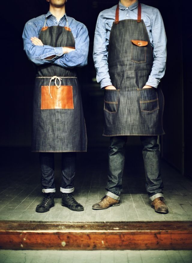 Leather-accented barista aprons, yes please. #barista #coffee: