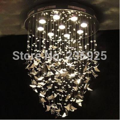 Stainless steel butterfly dia40cm 50cm 60cm led crystal lamp art band designer xx76