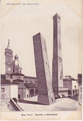 Unknown italian Publisher Postcard - Bologna - Due Torri -Asinelli e Garisenda (Un Saluto da Bologna) c1909