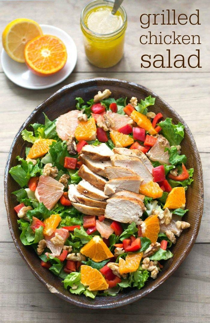 This grilled chicken salad recipe is bursting with the flavor of winter citrus fruit. It makes a delicious, healthy dinner to brighten a winter evening. Perfect for #SundaySupper!