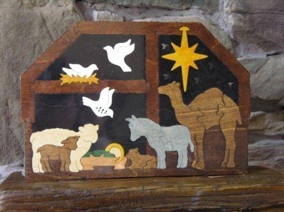 Stabile Krippe Puzzle mit Tieren aus Holz Hand von Puzzimals