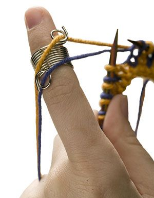 Wire Yarn Stranding Guide: This coiled ring is worn on the tip of your finger, to keep your yarns untangled and at an even tension while you knit a colorwork project. Whether you knit English or Continental style, this yarn stranding guide will speed up your Fair Isle and double knitting! $1.19