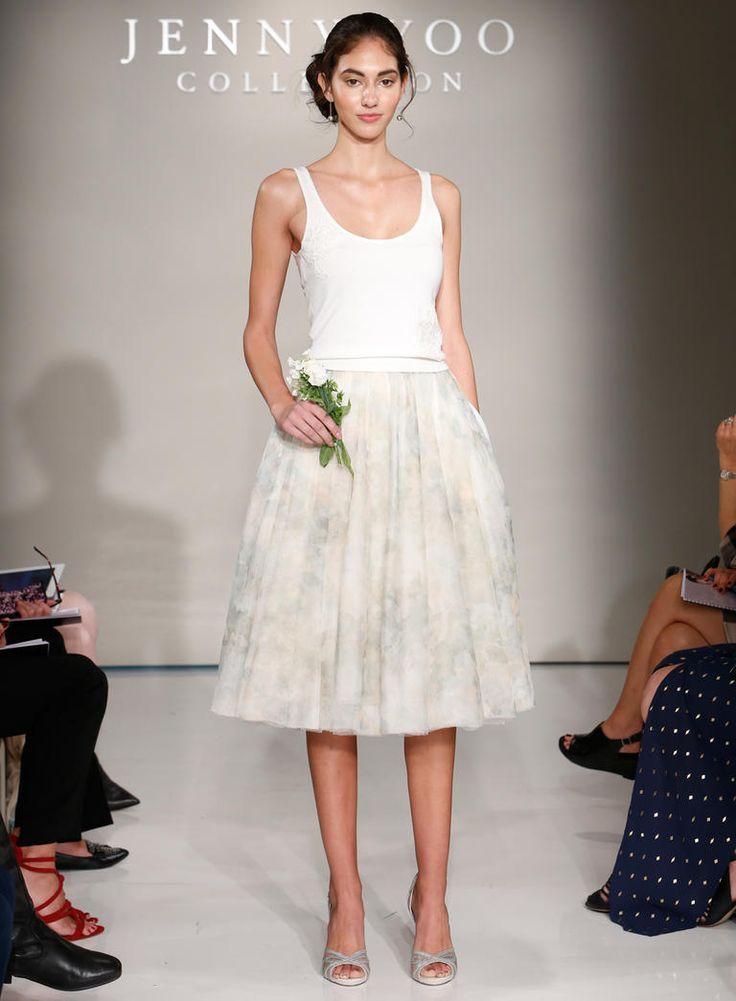 Jenny Yoo Fall 2016 wedding dress with white tank top and blush and light grey patterned tea length skirt | https://www.theknot.com/content/jenny-yoo-wedding-dresses-bridal-fashion-week-2016