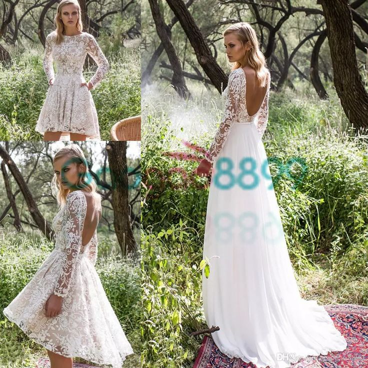 Discount 2017 Modest Detachable Train Country Boho Wedding Dresses With Long Sleeves Limor Rosen Vintage Lace Backless Short Bridal Dress Ball Gowns Debenhams Dresses From Gaogao8899, $133.87| Dhgate.Com