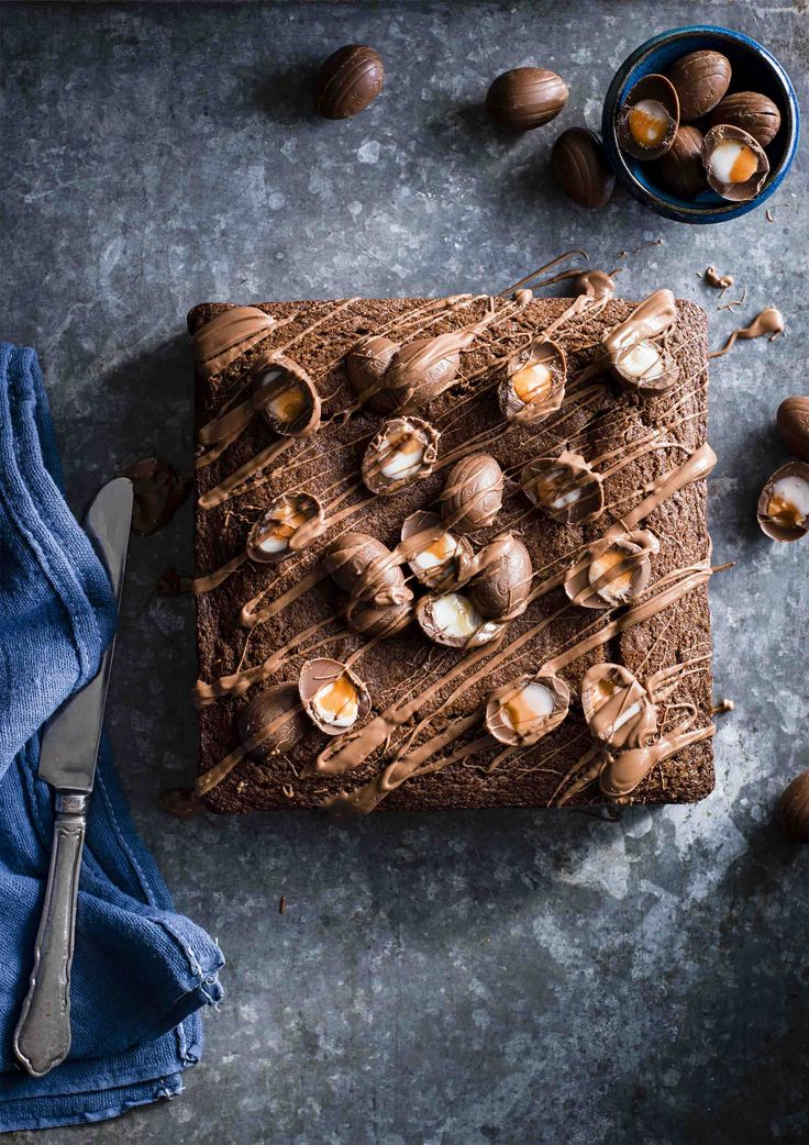Creme Egg Brownie Cake | Chocolate cake + Cadbury's Creme Eggs = HEAVEN. Whip up our chocolate traybake for a special Easter treat, or make it any time of the year!