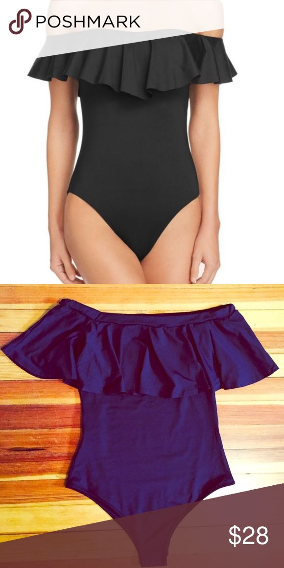 Black Off-Shoulder Swimsuit BRAND NEW Gorgeous black ruffle off-shoulder swimsuit. Last picture is of actual suit; first photo is of a Trina Turk suit that looks similar. This suit is not Trina Turk-- listed as that for exposure. The suit for sale was purchased from a boutique. Fits a size 6-8, very comfortable and stretchy. No tags, but unworn with hygienic liner still in place! Trina Turk Swim One Pieces