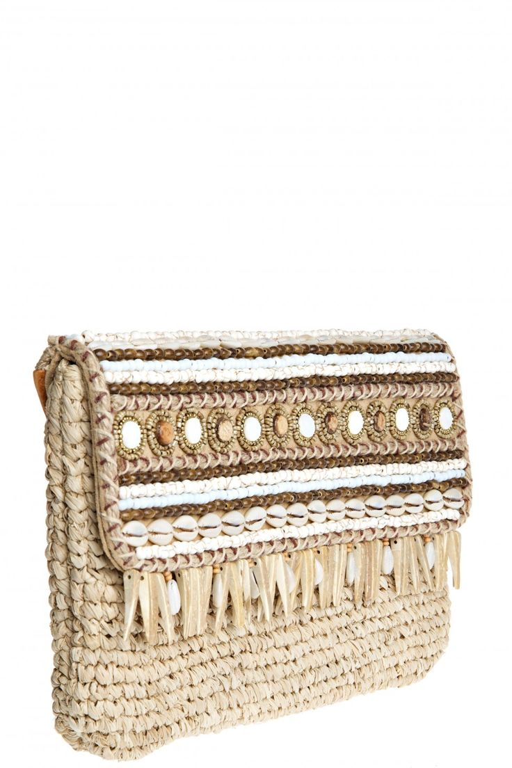 Lali Embellished Straw Clutch
