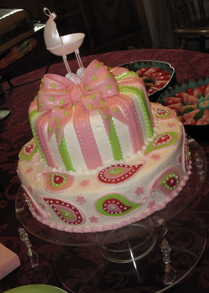Pink Paisley Baby Shower Cake...toptierweddingcakes.dotphoto.com