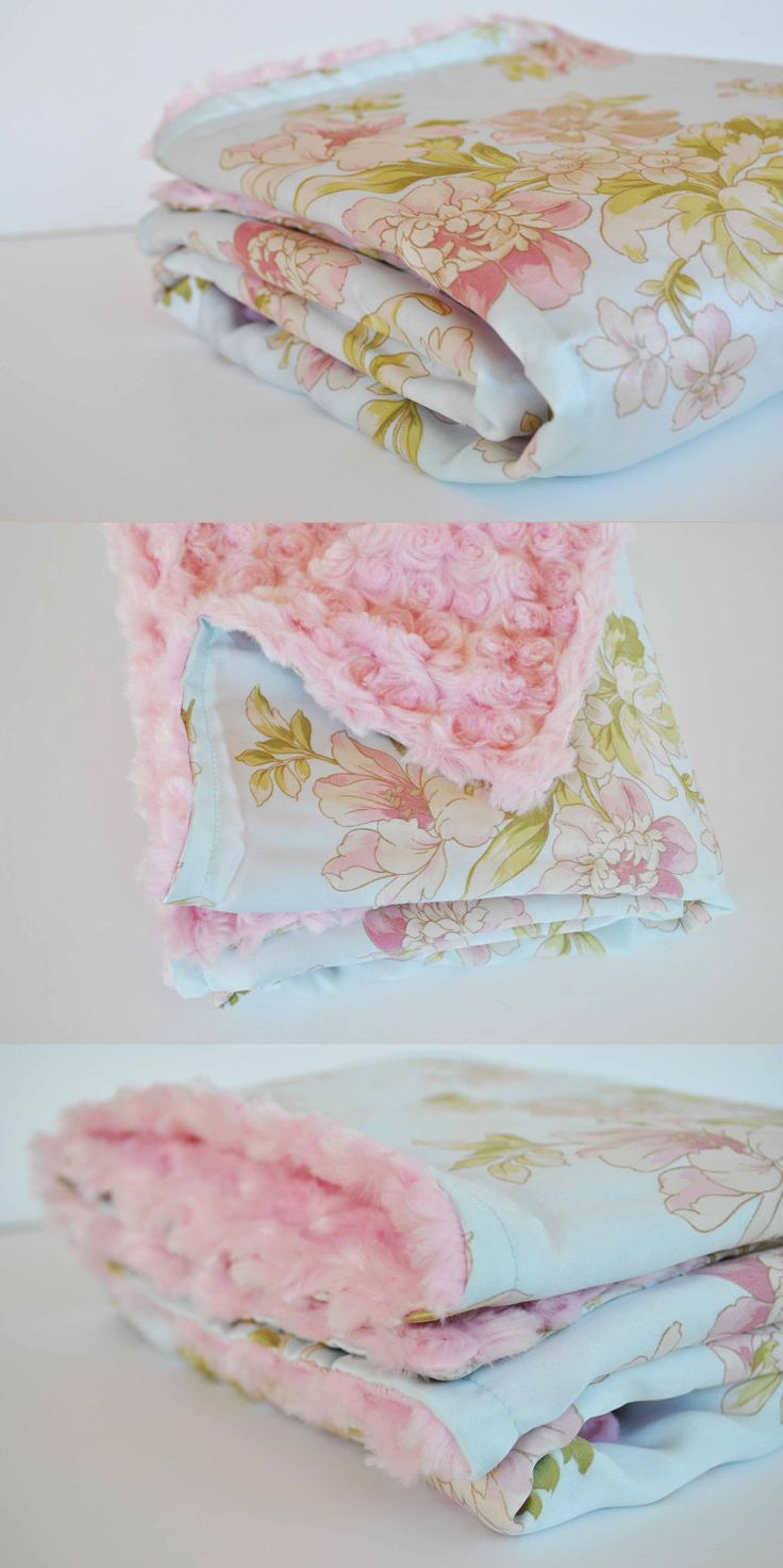 BEAUTIFUL BABY BLANKET..... Pretty floral satin with pink minky swirl....Gorgeous baby shower gift. $35.00, via Etsy.