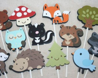 Woodland Animals Cupcake Toppers by jenrikdesigns on Etsy