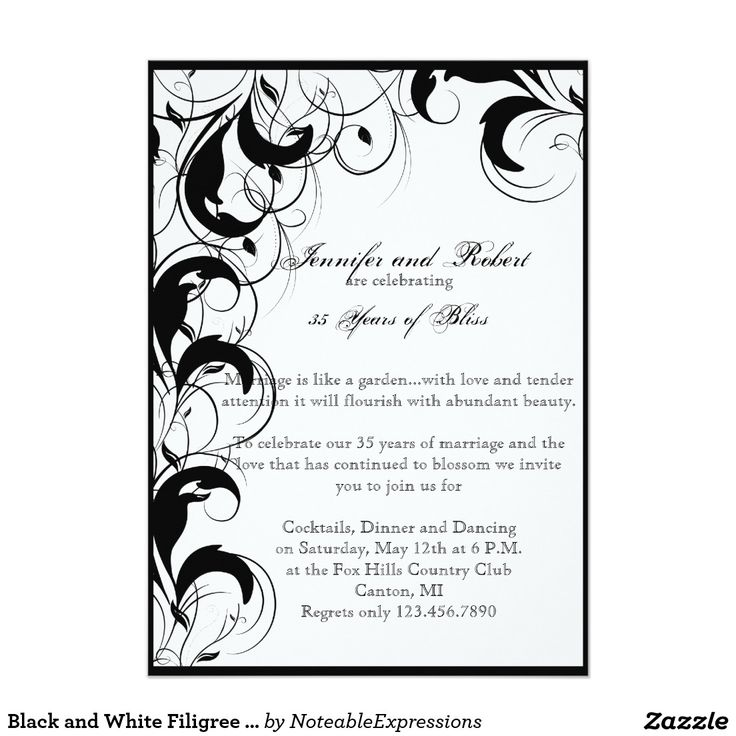 144 best anniversary invitations images on pinterest traditional shop black white filigree vintage wedding invitation created by noteableexpressions stopboris Image collections