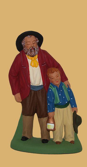 Santons Escoffier Aubagne en Provence - L'aveugle et son fils