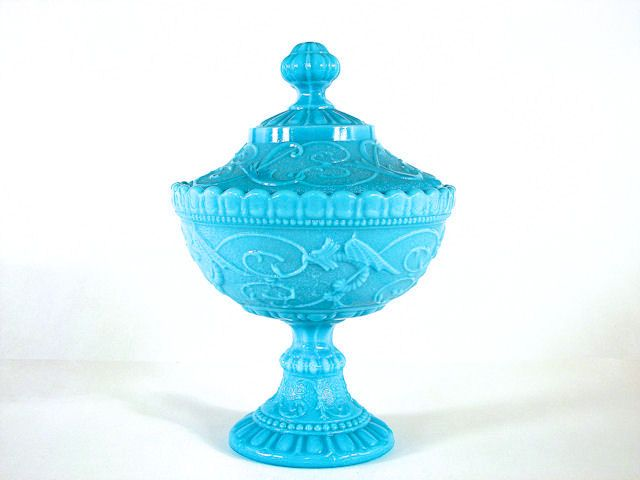 Image Detail for - Portieux Blue Milk Glass Chimeres Covered Compote