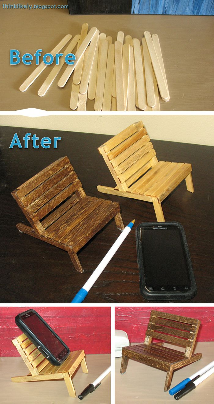 Pallet chair for your cell phone made from popsicle sticks. >>2016 UPDATE--> NEW popsicle stick chairs here: http://thinklikely.blogspot.com/2016/10/more-mini-pallet-chairs.html