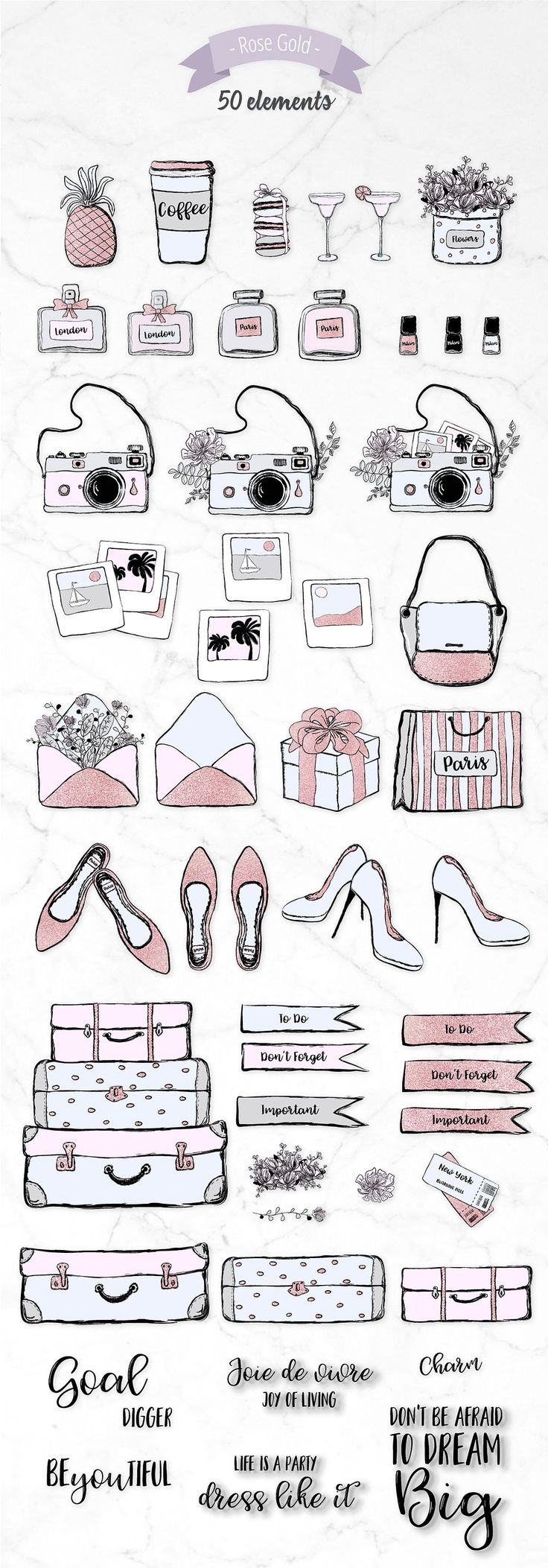 12$ 50%Off Rose Gold Planner Fashion Set by Moving Parallels on @creativemarket  Planner Diary Notebook Clipart Print Free Stickers Scrapbooking 50 gold foiled vector, fashion drawing elements made in glam sketch style, looks elegant and cool. Bundle includes the following images: high heel shoes, bags, flowers, gift box, suitcases, boarding pass travel tickets, wine glasses with drinks, French cookies macarons and etc. Pastel Scandinavian colors with rose gold glitter