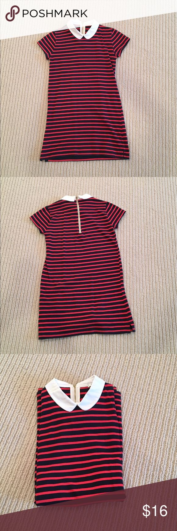 Striped forever 21 dress This is a red and navy striped forever 21 dress that is perfect for a night out or a stroll in the town. Size small with gold zipper on the back with no tears or stains, only worn once. Price negotiable Forever 21 Dresses Mini
