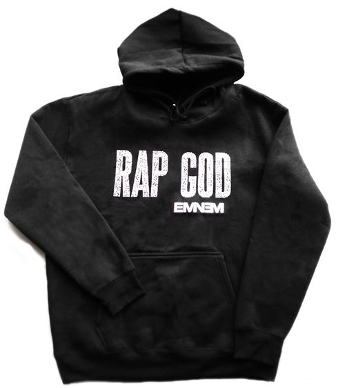 """Is a Jacket, black color, with a hat, I have written in the chest """"Rap eminem god,"""" the title of a song by eminem, the cost is £45.25."""