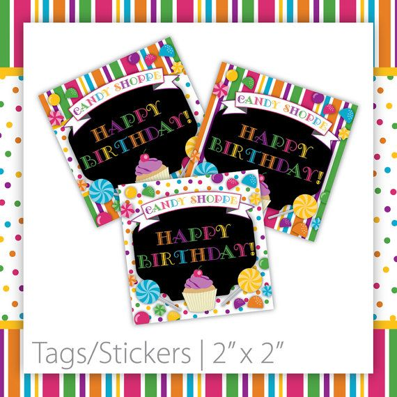 Candy Birthday Tags . Happy Birthday  by BlackCherryPrintable