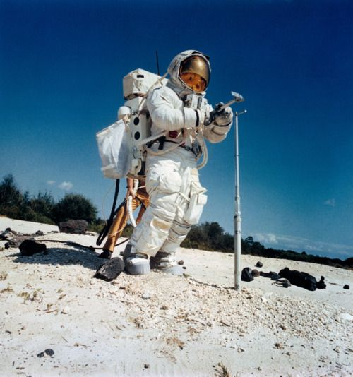 45 YEARS AGO TODAY: Apollo 16 astronaut Charlie Duke, with a core tube and hammer, trains on a simulated Moon surface at Kennedy Space Center, Florida, on March 22, 1972.