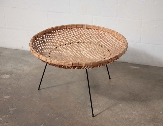 Woven basket table. Not great for a cup of coffee, but good for collecting stuff that accumulates in a TV room.