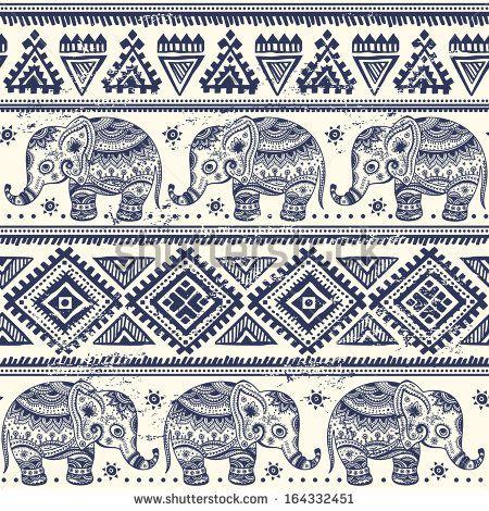 Elefante étnico padrão sem extremidades