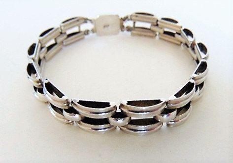 Prachtige brede Art Deco 835 zilveren schakelarmband by ssiesvintagesieraden on Etsy
