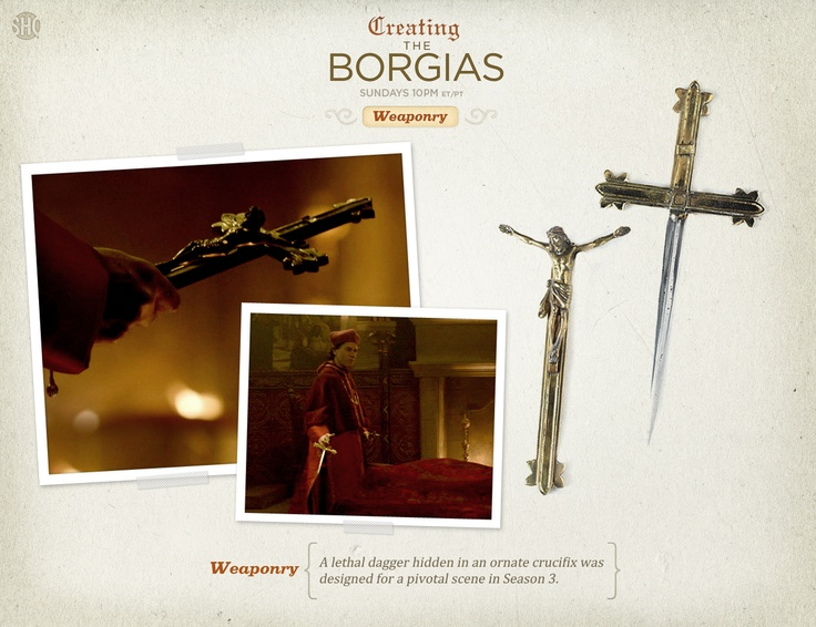 A lethal dagger hidden in an ornate crucifix was designed for a pivotal scene in Season 3.
