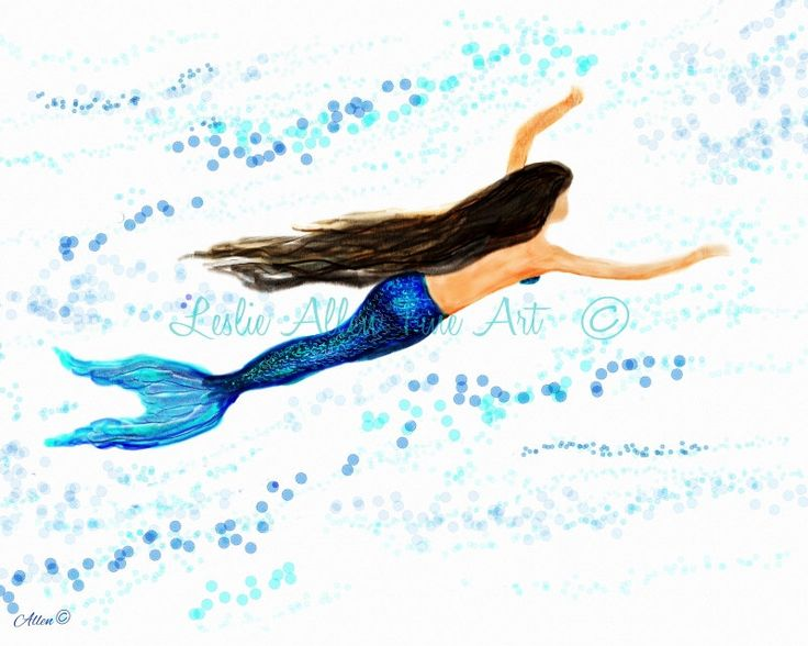Watercolor Mermaid Painting Print Beach Decor, Mermaid Art, Mermaid Print, Mermaid  Wall Art