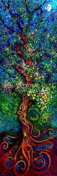 El árbol establece la comunicación entre los tres niveles del cosmos: el subterráneo, por sus raíces; la superficie de la tierra, por el tronco; y el cielo, por la copa y sus ramas. Es por tanto el eje del mundo que establece la relación entre la tierra y el cielo. El árbol de la vida surge de un recipiente, una vasija que simboliza a la madre tierra, de la que nace toda la vida.
