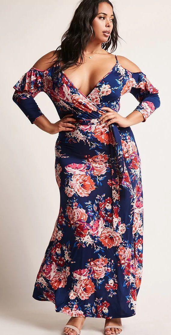 Plus Size Floral Maxi Dress #plussizeswimwear