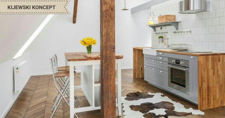 Poddasze zabytkowej kamienicy #attic #home #decor #interiordesign #projekt #kitchen #grey #woodenfloor #floor #wood #idea #white