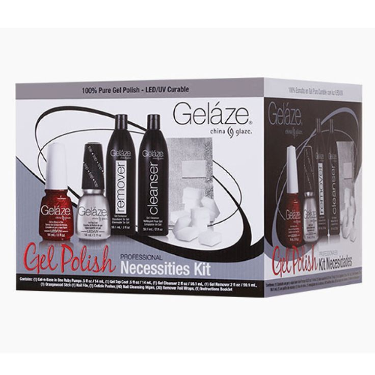Gelaze Necessities Professional Kit contains the following: 33 fl oz Ruby Pumps 33 fl oz Top Coat Pre-Soaked Cleansing Wipes (26 ct) Bonus Items: Nail File, Orangewood Stick, Nail Pusher, 2 fl oz Remover, Instruction Booklet and Instructional DVD.