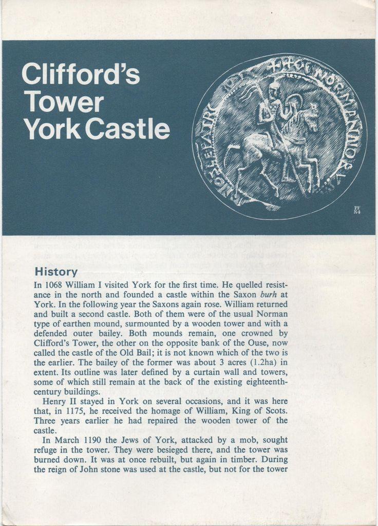 Brochure, Clifford's Tower York Castle, York, England, 6 panels, illustrated, good shape, 1984 by VintageNEJunk on Etsy