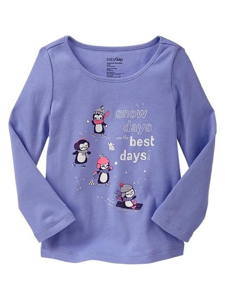 Nwt Baby Gap Girls size 3 3T Purple Penguin t-shirt long sleeve top Snow Days  #Gymboree #EverydayHoliday
