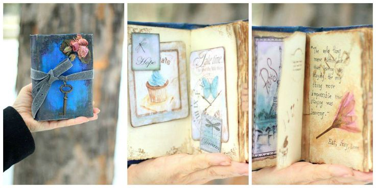 "Jurnal romantic personalizat confectionat cu hartie manuala - ""Eat Pray Love''"