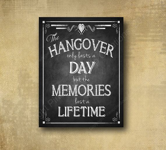 Printed Alcohol HANGOVER bar sign perfect for by BeforeYouSayIDo