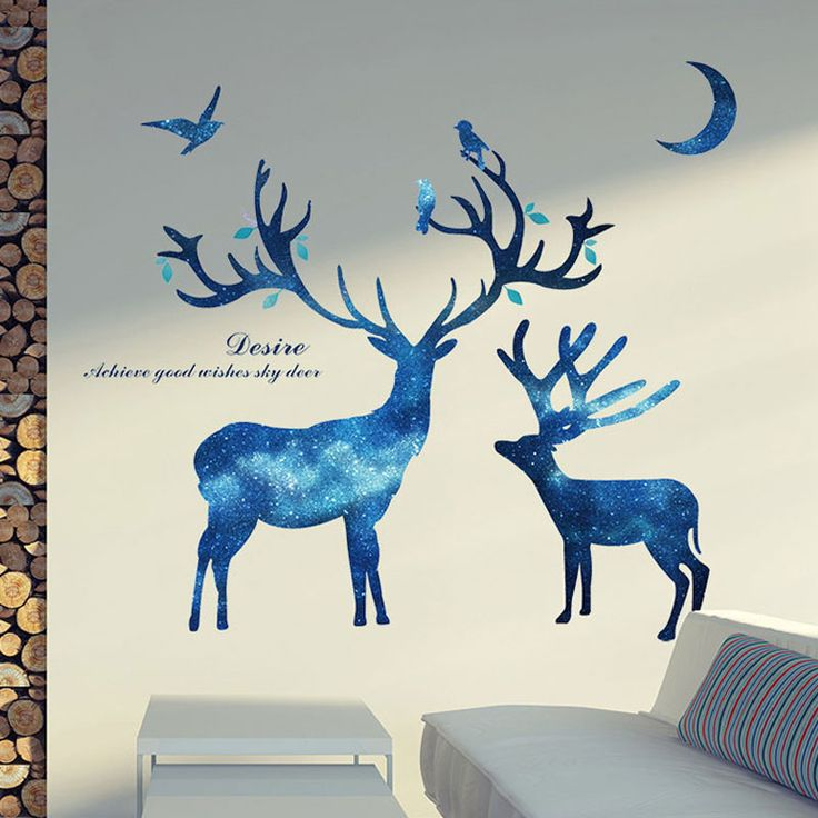 3D animal Star deer wall stickers Kindergarten living room sofa TV background wallpaper personality Home Decoration stickers  #Affiliate