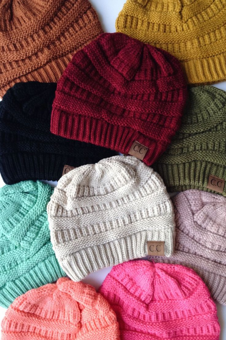 Our best-selling beanies are back! Slouchy, knit CC Beanie available in twelve…