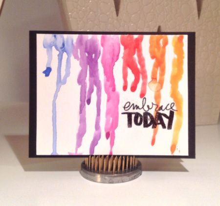 Watercolour drips make this a fun and artsy card by Wendy.